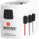 Skross PRO Light világutazó hálózati csatlakozó átalakító (földelt) és USB töltő 4 A (standard) USB bemenettel