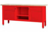 TSK7522-L satupad 2 fiókkal, 2 szekrénnyel, nyitott tárolóval, fa munkalappal