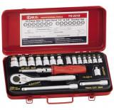 """Genius Tools TX-2319 1/4"""" és 3/8""""-os belső torx dugókulcs készlet, 19 részes"""