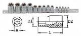 """Genius Tools TX-23414 1/4"""", 3/8"""", 1/2""""-os belső torx dugókulcs készlet, 14 részes"""