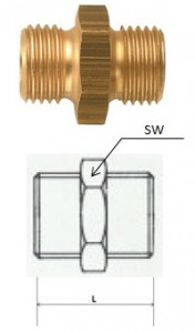 Rectus (DN 17/17K) R 3/8 x R 3/8 KON csatlakozású kettős karmantyú termék fő termékképe