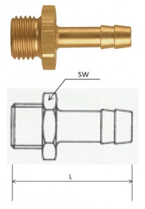 (T389M) G 3/8, 9 mm csatlakozású külső menetes tömlővég termék fő termékképe