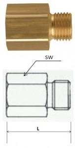 Rectus (RL21/21) G 1/2a x G 1/2i csatlakozású szűkítő karmantyú, hosszú termék fő termékképe