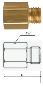 Rectus (RL21/26) G 1/2a x G 3/4i csatlakozású szűkítő karmantyú, hosszú termék fő termékképe