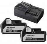 HiKoki UC18YFSL Li-ion akkumulátor töltő + 2 db 18V 5.0Ah Li-ion akkumulátor