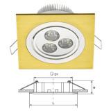 Elmark LED beépíthető spot lámpatest, arany, 240 lm, 2700-3000 K, 3x1 W