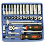 """Genius Tools TW-230M 1/4""""-os dugókulcs készlet, 12 lapú, 30 részes"""
