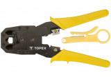 Topex 32D409 krimpelő fogó, 4P, 6P, 8P, 195 mm