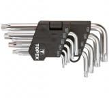 Topex 35D950 rövid, ötlapú, furatos kulcs készlet, CrV acél, 9 részes