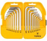 Topex 35D952 rövid imbusz- és torxkulcs készlet, CrV acél, 18 részes