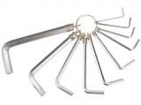 Topex 35D954 imbuszkulcs készlet kulcskarikán, CrV acél, 10 részes
