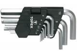 Topex 35D955 rövid imbuszkulcs készlet, CrV acél, 9 részes