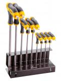 Topex 35D964 T-szárú, lyukas torxkulcs készlet, CrV acél, 9 részes