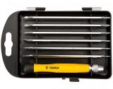 Topex 39D551 műszerész csavarhúzó készlet, CrV acél, 7 részes (markolat + 6 db kétvégű bit)