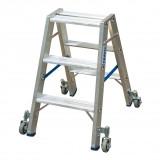 STABILO Professional két oldalon járható lépcsőfokos állólétra, gurítható, 2x3 fokos