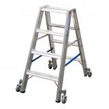 STABILO Professional két oldalon járható lépcsőfokos állólétra, gurítható, 2x4 fokos