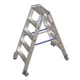 STABILO Professional két oldalon járható lépcsőfokos állólétra, gurítható, 2x5 fokos