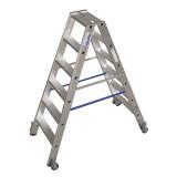 STABILO Professional két oldalon járható lépcsőfokos állólétra, gurítható, 2x6 fokos