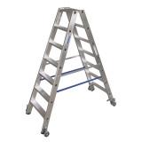 STABILO Professional két oldalon járható lépcsőfokos állólétra, gurítható, 2x7 fokos