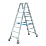 STABILO Professional két oldalon járható lépcsőfokos állólétra, gurítható, 2x8 fokos