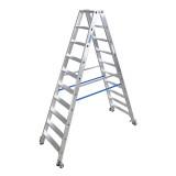 STABILO Professional két oldalon járható lépcsőfokos állólétra, gurítható, 2x10 fokos
