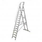 STABILO Professional egy oldalon járható lépcsőfokos állólétra nagy dobogóval, 14 fokos