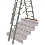 MONTO Tribilo háromrészes létrafokos sokcélú létra lépcsőfunkcióval, 3x10 fokos