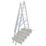 STABILO Professional háromrészes létrafokos sokcélú létra lépcsőfunkcióval, 3x8 fokos