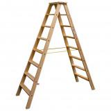 STABILO Professional két oldalon járható lépcsőfokos fa állólétra, 2x8 fokos