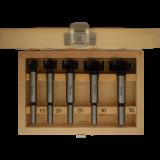 Abraboro 5 részes Forstner fúró készlet HM - keményfém lapkával, fadobozban