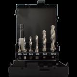 Abraboro 7 részes kombinált gépi menetfúró készlet, rövid