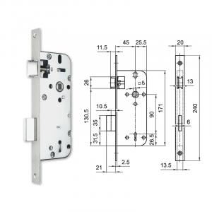 3411 fogazott kulcsos bevésőzár 45/90 mm termék fő termékképe