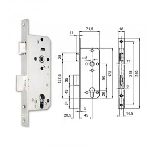 3424 hengerzárbetétes bevésőzár 45/90 mm termék fő termékképe