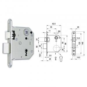 3435 normál kulcsos kétnyelves lővér bevésőzár 55/55 mm termék fő termékképe