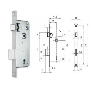 380 fogazott kulcsos bevésőzár 40/90 mm termék fő termékképe