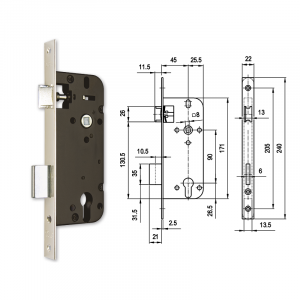 4320 hengerzárbetétes bevésőzár 45/90 mm termék fő termékképe