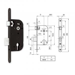 664 C hengerzárbetétes bevésőzár 40/70 mm termék fő termékképe