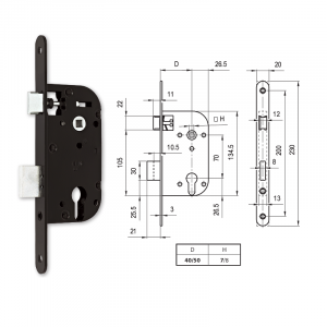 664 C hengerzárbetétes bevésőzár 50/70 mm termék fő termékképe