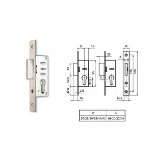 EUROPORTÁL hengerzárbetétes reteszzár (portál másodzár) 35/22 mm termék fő termékképe