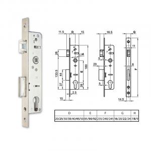 EUROPORTÁL hengerzárbetétes, csapdás portálzár 25/90/240/22/8 mm termék fő termékképe
