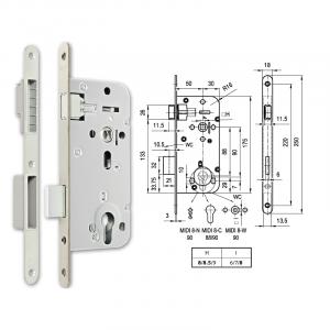 MIDI 8-C M mágnescsapdás hengerzárbetétes bevésőzár 50/90 mm termék fő termékképe