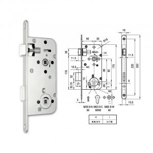 MIDI 8-W fordítógombos bevésőzár 50/90 mm termék fő termékképe