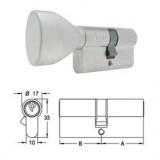ELZETT X-11 matt-nikkel hengerzárbetét ovális gombbal, 30+30 mm