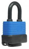 Műanyag borítású vízálló lakat, fekete-kék, 40 mm