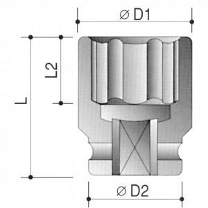 """30 mm erősített dugókulcs 1-1/2"""" -os meghajtóval termék fő termékképe"""