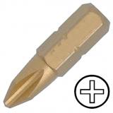 """KENNEDY No.2 kereszthornyos titán csavarhúzó bit 1/4"""" hatszög illesztéssel, 25 mm, 5db/csomag"""