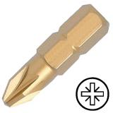 """KENNEDY No.2 Pozidriv titán csavarhúzó bit 1/4"""" hatszög illesztéssel, 25 mm, 5db/csomag"""