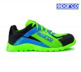 Sparco Practice fluozöld-azúrkék munkavédelmi cipő S1P