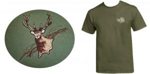 Hímzett póló zöld, szarvas minta termék fő termékképe
