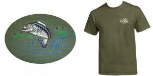 Hímzett póló zöld, hal minta termék fő termékképe